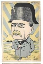 French Cartoon Postcard Teddy Roosevelt as Napoleon #1 Artist Signed Lion