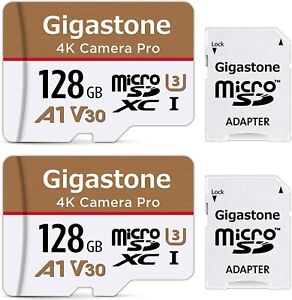 Gigastone 128GB 2-Pack Micro SD Card with Adapter, 4K Camera Pro, Gaming A1, U1