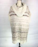 Free People Knit Tunic Sweater Sz Large Creme Sleeveless Cowl Neck Oversized