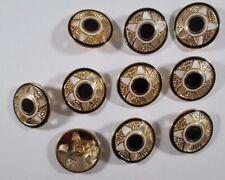 Metall  Knopf Knöpfe 10 stück  gold schwarz         23 mm   #813#