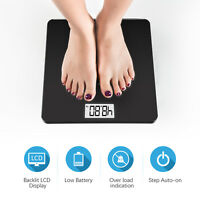 400lb Digital Body Weight Scale Bathroom Fitness Backlit LCD Display + 2 Battery