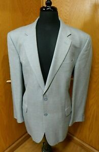 Mens Blazer Sport coat Jacket Jos A Bank 46r Silver Blue weave Wool Silk  S#31