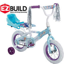 "Disney Frozen 12"" Girls EZ Build Sleigh Bike Doll Carrier Training Wheels Sport"
