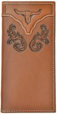 3D Western Mens Wallet Rodeo Leather Tooled Floral Longhorn Brown W798