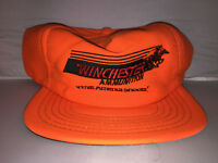 Vtg Winchester Ammunition MADE IN USA Snapback hat cap rare hunting gun 80s