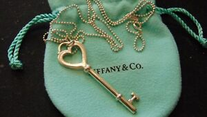 "TIFFANY & CO. Sterling Silver Large Heart Key Pendant 24"" Beaded Chain"