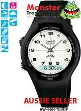 CASIO WATCH DUALTIME STOP WATCH AW90 AW90H AW-90H-7BV 12 MONTH WARRANTY