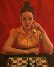 ORIGINAL OIL PAINTING CANVAS ART WOMAN RED CHESS PORTRAIT CHRISTMAS  GIFT XMAS