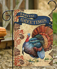 Toland Harvest Greetings 12.5 x 18 Fall Autumn Thanksgiving Turkey Garden Flag