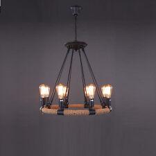 8 Bases Circle Shade Ceiling Lamp Industrial Retro Hemp Rope Chandeliers