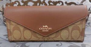 COACH ~Signature Envelope Wallet~Leather / Coated Canvas~KHAKI~SADDLE~NWT $250