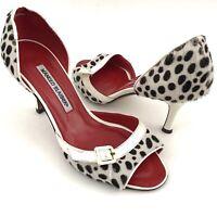 Manolo Blahnik Women's 37 Calf Hair Heels Polka Dot White Black Peep Toe D'orsay