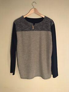 Unbranded Tan/Black Mens Medium Weight Cotton Blend Long Sleeve Shirt, Size L