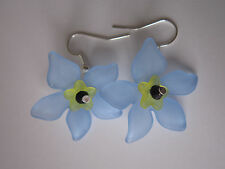 Drop / Dangle Earrings - Forget-Me-Not - Blue Flowers - Silver Plated