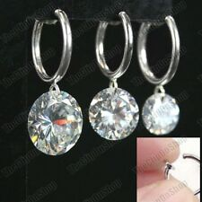 CLIP ON CUBIC ZIRCONIA DROP EARRINGS sparkly CZ crystal stones SILVER FASHION