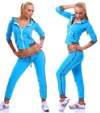 TUTA donna AZZURRA FITNESS moda palestra pantaloni + felpa LEOPARDATA tg. M/L