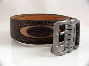 OAKLEY VINTAGE MENS LEATHER INDUSTRIAL BELT SIZE S  EARTH BROWN  NEW  RARE  LAST