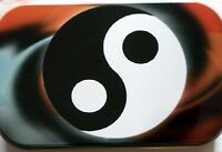 slim 1oz hinged Feng Shui Ying Yang tobacco tin with  rolling papers