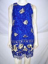 Beachwear Blue Sleeveless Fringe Fish Dress Womens Size Small 4 6