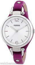 Fossil ES3317 Georgia Silver Dial Leather Strap Women's Watch