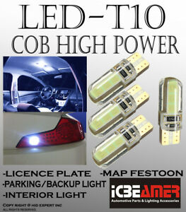 4 pc T10 COB LED Super White Silicon Protect Direct Fit for Reverse Lights G462