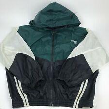 Vtg 90s BIKE Windbreaker Hide a Hood Color Block 100% Nylon Full Zip Jacket
