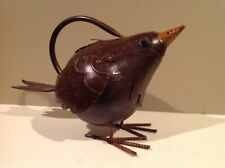Decorative Metal Bird Shaped Watering Can Brown