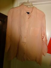Crazy Horse a Liz Claiborne Co Top Light Pink 3/4 Sleeve Button Front Large