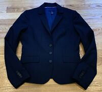J Crew Pinstripe Navy Blue Italian Wool Blazer 3 Button Suit Jacket Women Size 6