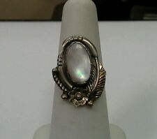 Vintage Native American Sterling Silver Ring Oval Mother of Pearl Center Size 5
