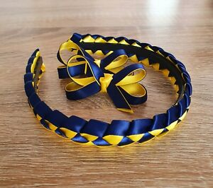 School Hair Accessories Hair Bow Clips Hairband  Navy Blue Yellow