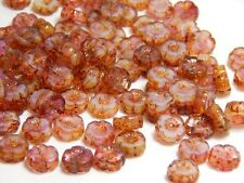 8 8mm Tiny Pink Flower Beads - Small Pansy Beads Nature High Quality Czech T-84E