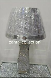 Crushed Diamond Silver/White Vase Lamp Bling Table Lamp Shade with free Led bulb