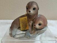 Vintage Homco Masterpiece Porcelain Baby Seals Figurine Signed 1981