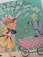 UNUSED Vtg GIRL w DOLL BUGGY Little NIECE BIRTHDAY GREETING CARD