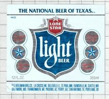 US G.Heileman Brewing Co. LONE STAR Light Texas beer label C2254 054