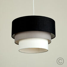 Modern Easy Fit 3 Tier Fabric Ceiling Pendant Light Lamp Shade Lampshades Shades