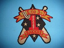 "VIETNAM WAR POCKET PATCH, USMC I COMPANY 3rd BN ""RAIDERS"" 1st MARINE DIVISION"