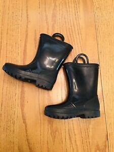 ❤️ Toddler Kids Girls Boys 9 Black Rain Rubber Boots