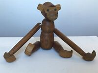 """1978 Mid Cent Mod Viking Hand Carved Teak Articulated Monkey Made in Japan 8.25"""""""