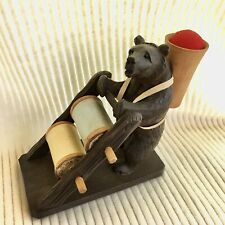 Victorian Swiss Antique Black Forest Bear Sewing Thread Holder and Pin Cushion