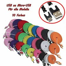 1m 2m 3m NYLON Micro USB Kabel Datenkabel Ladekabel für alle Handy-Modelle