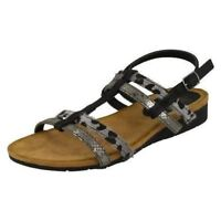 Down to Earth F1R0429 Ladies Black PU Sandals UK Sizes 3-8 (R3A)