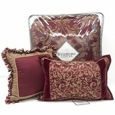 WATERFORD Athena KING COMFORTER SET 6pc PILLOWS NWT Floral Medallion RUBY RED