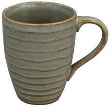 Set of 6 Large Coffee Mugs Rippled Speckled Sage Stoneware 222 Fifth Studio