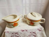 Temper-Ware BY Lenox FIRE FLOWER Sugar Bowl With Lid & Creamer Set USA
