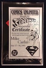 SUPERMAN #75 Black Bag Death of Superman  Signed by Mike Carlin with COA NM/M