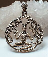 Bronze Celtic Cernunnos~Green Man~Horned God Pendant~Pagan~Magick~Wicca~Witch