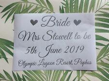 PERSONALISED STICKER WEDDING DRESS STORAGE BOX Bride Airline Travel Keepsake