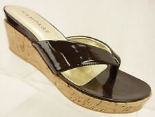 "NEW RAMPAGE QUINN Thong Wedges Women's 8.5 M Brown Patent Cork Shoes 3"" Heels"